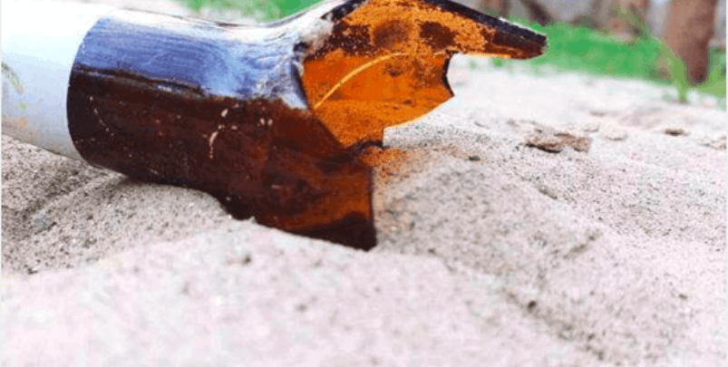 broken glass beverage bottle