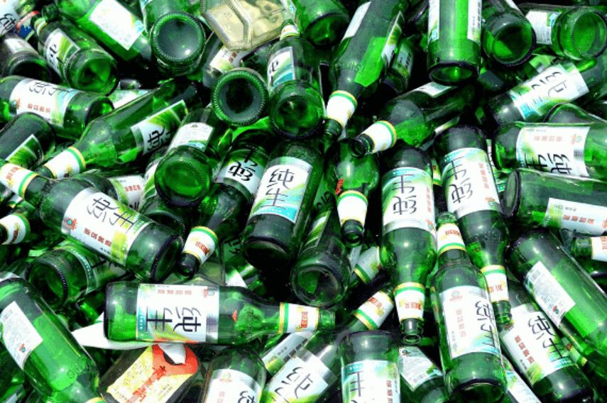 green glass beer bottle waste